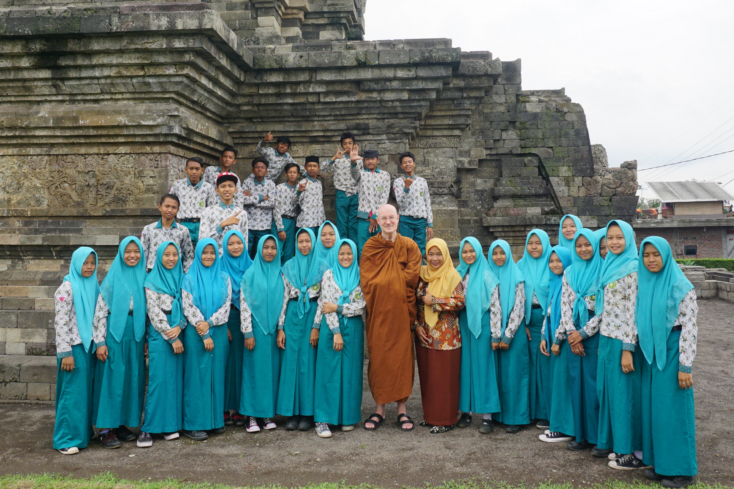 With Schoolchildren at Candi Jawi