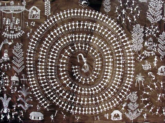A Warli painting by Jivya Soma Mashe