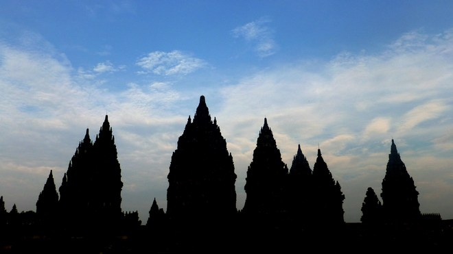Silhouette of the Prambanan Complex at dawn