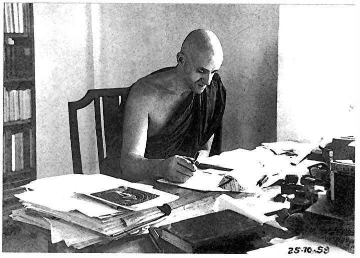Ven. Nyanamoli at his desk on Island Hermitage