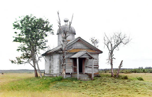 A chapel sits on the site where the city of Belozersk was founded in ancient times, 1909