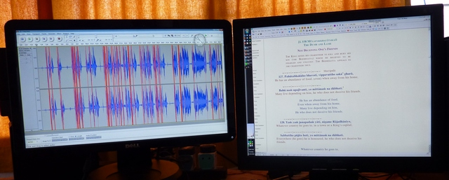 Audacity open on one screen; Word on the other